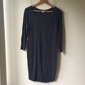 James Perse Long-Sleeve Cotton Shirt Dress in Navy